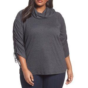 NWOT Sejour Drawstring Sleeve grey Plussize 2X top